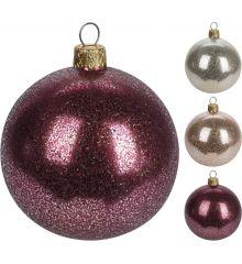 Χριστουγεννιάτικη Μπάλα Ανάγλυφη - 3 Χρώματα (8cm)