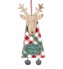 Χριστουγεννιάτικος Ξύλινος Τάρανδος Καρό με Γκρι Κουδουνάκια (16cm)