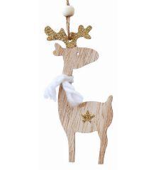 Χριστουγεννιάτικος Ξύλινος Τάρανδος με Χρυσά Κέρατα και Αστεράκι (13cm)