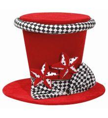 Χριστουγεννιάτικο Τσόχινο Καπέλο Κόκκινο με Φιόγκο και Αστεράκια (35cm)