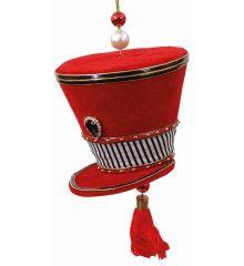 Χριστουγεννιάτικο Τσόχινο Καπέλο Μουσικού Κόκκινο με Ρίγες (20cm)