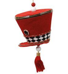 Χριστουγεννιάτικο Τσόχινο Καπέλο Μουσικού Κόκκινο με Σκακιέρα (20cm)