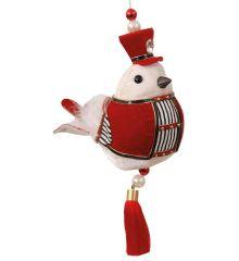 Χριστουγεννιάτικο Λούτρινο Πουλάκι Μουσικός με Ρίγες Πολύχρωμο (15cm)