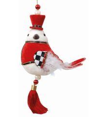 Χριστουγεννιάτικο Λούτρινο Πουλάκι Μουσικός Πολύχρωμο (24cm)
