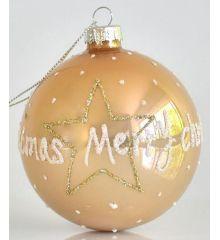 Χριστουγεννιάτικη Γυάλινη Μπάλα Σαμπανιζέ με Βούλες (8cm)