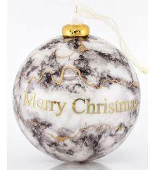 """Χριστουγεννιάτικη Μπάλα Πορσελάνινη Γκρι με Χρυσό """"Marry Christmas"""""""