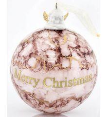 Χριστουγεννιάτικη Μπάλα Χειροποίητη Πορσελάνινη με Αγγελάκι (10cm)