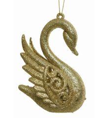 Χριστουγεννιάτικος Πλαστικός Κύκνος Χρυσός με Στρας (10cm)