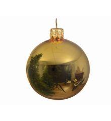 Χριστουγεννιάτικη Μπάλα Γυάλινη Χρυσή Γυαλιστερή (8cm)