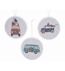 Χριστουγεννιάτικο Μεταλλικό Στολίδι με Αυτοκίνητο - 3 Χρώματα (11cm)
