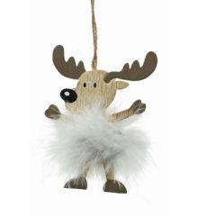 Χριστουγεννιάτικο Ξύλινο Ελαφάκι Καφέ με Φτερά (12cm)