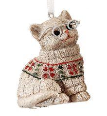 Χριστουγεννιάτικη Γάτα Μπεζ (6.5cm)