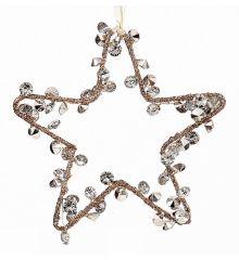 Χριστουγεννιάτικο Μεταλλικό Αστέρι με Διαμάντια (15cm)