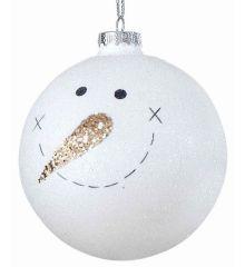 Χριστουγεννιάτικη Μπάλα Γυάλινη Λευκή με Χιονάνθρωπο (10cm)