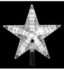 Χριστουγεννιάτικη Κορυφή Δέντρου Φωτιζόμενο Αστέρι με Λευκό LED (22cm)