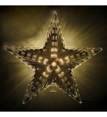 Χριστουγεννιάτικη Κορυφή Δέντρου Φωτιζόμενο Αστέρι με Λευκό Θερμό LED (22cm)