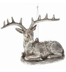 Χριστουγεννιάτικος Τάρανδος Πλαστικός Ασημί Καθιστός (10cm)