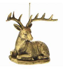 Χριστουγεννιάτικος Τάρανδος Πλαστικός Χρυσός Καθιστός (10cm)