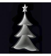 Χριστουγεννιάτικο Δεντράκι Ασημί με 3D Φωτισμό LED (20cm)