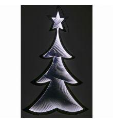 Χριστουγεννιάτικο Δεντράκι Ασημί με 3D Φωτισμό LED (30cm)