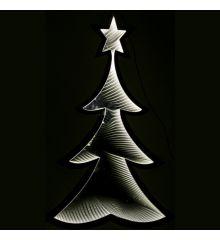 Χριστουγεννιάτικο Δεντράκι Ασημί με 3D Φωτισμό LED Θερμό (30cm)