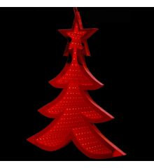 Χριστουγεννιάτικο Δεντράκι Κόκκινο με 3D Φωτισμό LED (67cm)