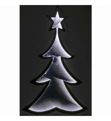 Χριστουγεννιάτικο Δεντράκι Ασημί με 3D Φωτισμό LED (110cm)