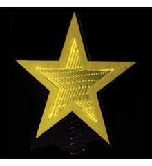 Χριστουγεννιάτικη Κορυφή Δέντρου Αστέρι Χρυσό με 3D Φωτισμό LED (20cm)