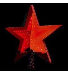 Χριστουγεννιάτικη Κορυφή Δέντρου Αστέρι Κόκκινο με 3D Φωτισμό LED (25cm)