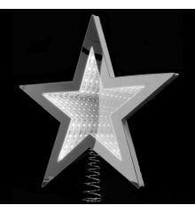 Χριστουγεννιάτικη Κορυφή Δέντρου Αστέρι Λευκό με 3D Φωτισμό LED (25cm)