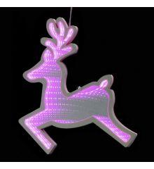 Χριστουγεννιάτικο Ελάφι Ροζ με 3D Φωτισμό LED (40cm)