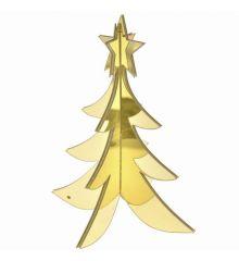 Χριστουγεννιάτικο Διακοσμητικό Ακρυλικό Δεντράκι 3D Χρυσό (20cm)
