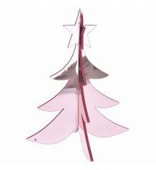 Χριστουγεννιάτικο Διακοσμητικό Ακρυλικό Δεντράκι 3D Ροζ (20cm)