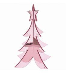 Χριστουγεννιάτικο Διακοσμητικό Ακρυλικό Δεντράκι 3D Ροζ (30cm)