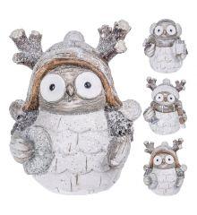 Χριστουγεννιάτικη Διακοσμητική Κουκουβάγια Γκρι - 3 Σχέδια (18cm)