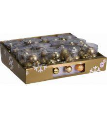 10 Φωτάκια LED Μπαταρίας, με Χρυσές Μπαλίτσες