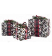 Χριστουγεννιάτικο Δώρο Χιονισμένο με LED (15cm)