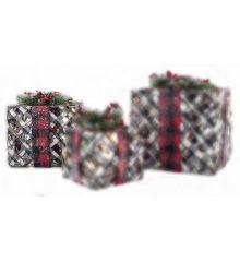 Χριστουγεννιάτικο Δώρο Χιονισμένο με LED (20cm)