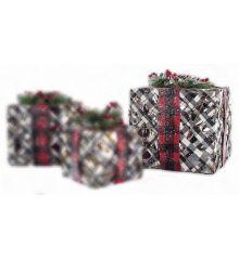 Χριστουγεννιάτικο Δώρο Χιονισμένο με LED (25cm)