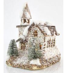 Χριστουγεννιάτικο Πέτρινο Σπιτάκι Χιονισμένο με 3 LED (28cm)