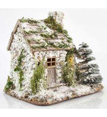 Χριστουγεννιάτικο Πέτρινο Σπιτάκι Χιονισμένο με 3 LED (23cm)