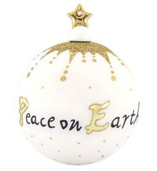 """Χριστουγεννιάτικη Μπάλα Χειροποίητη Πορσελάνινη """"Peace on Earth"""" (10cm)"""