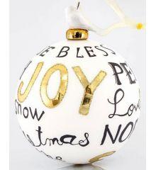 """Χριστουγεννιάτικη Μπάλα Χειροποίητη Πορσελάνινη """"Joy"""" (10cm)"""