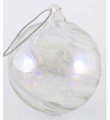 Χριστουγεννιάτικη Μπάλα Γυάλινη Διάφανη (8cm)