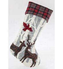 Χριστουγεννιάτικη Διακοσμητική Κάλτσα Καρό με Ελάφι (54cm)