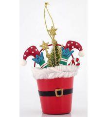 Χριστουγεννιάτικο Κουβαδάκι Μεταλλικό με Πόδια Καλικάντζαρου (12cm)