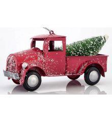 Χριστουγεννιάτικο Φορτηγάκι Κόκκινο με Δέντρο (7cm)