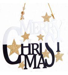 """Χριστουγεννιάτικο Μεταλλικό """"Merry Christmas"""" Μαύρο με Αστέρια (17cm)"""
