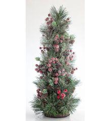 Χριστουγεννιάτικο Επιτραπέζιο Χιονισμένο Δέντρο με Γκι και Πευκοβελόνες (55cm)