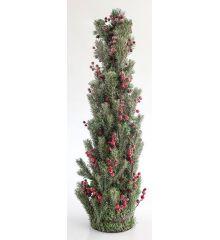 Χριστουγεννιάτικο Επιτραπέζιο Χιονισμένο Δέντρο με Γκι και Πευκοβελόνες (90cm)
